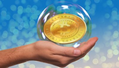 Bitcoin Present Hand Currency Soap Bubble Keep